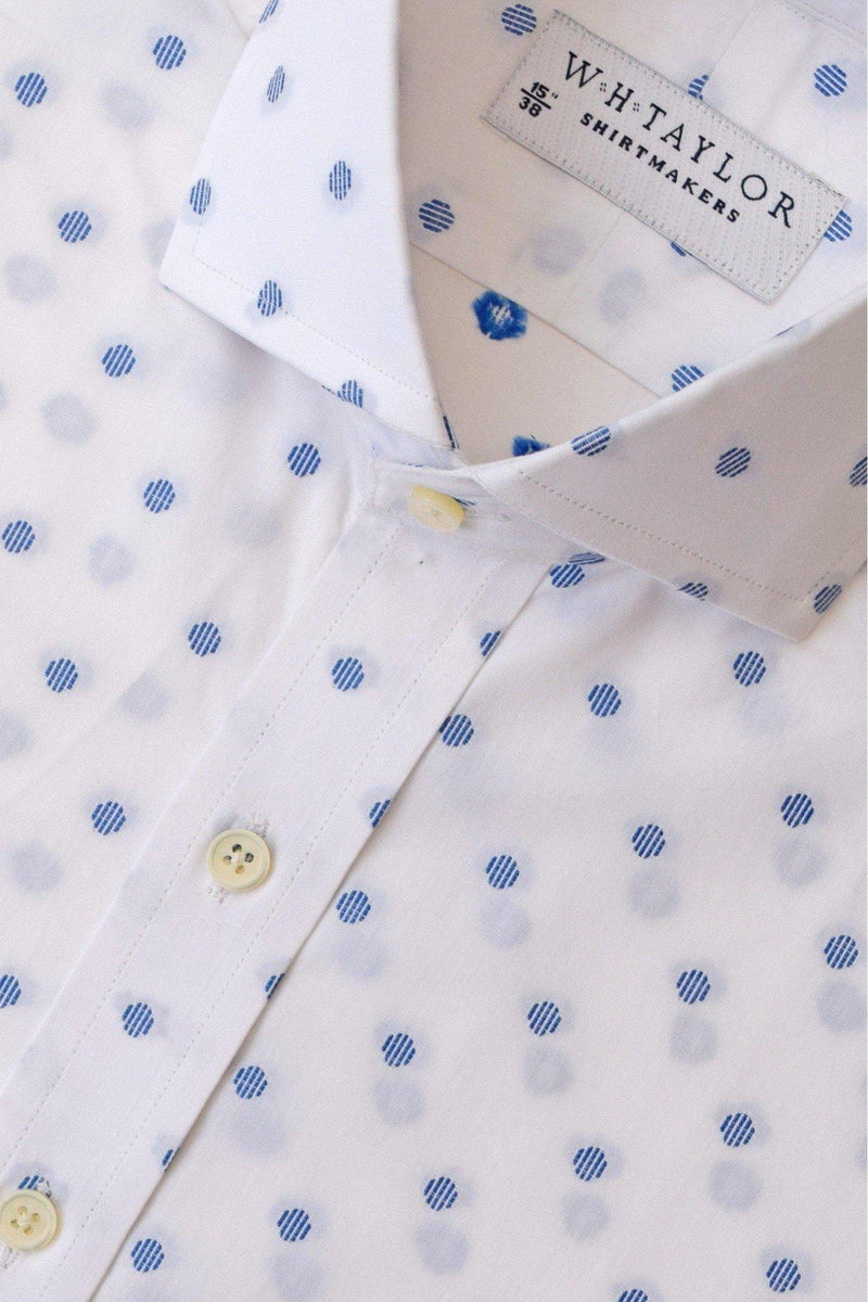 White & Blue Spotted Bespoke Shirt-whtshirtmakers.com
