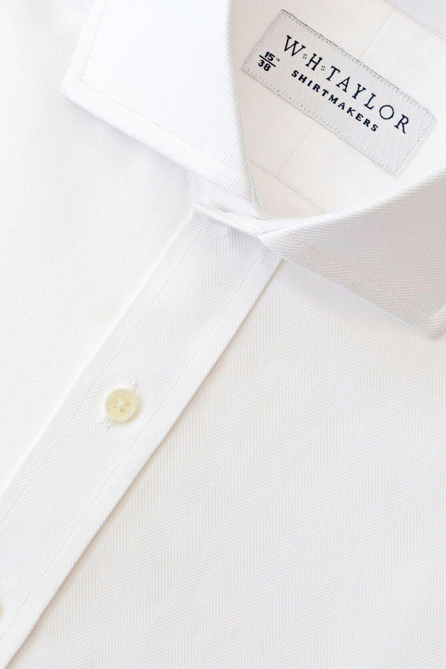 White Herringbone Stripe Bespoke Shirt-whtshirtmakers.com