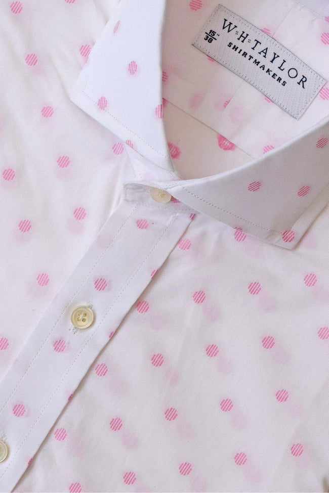 White & Pink Spotted Bespoke Shirt-whtshirtmakers.com