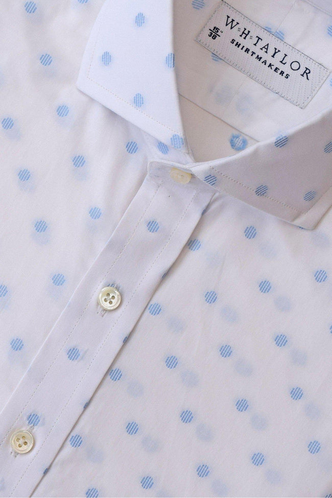 whtshirtmakers.com Bespoke White & Sky Spotted Shirt