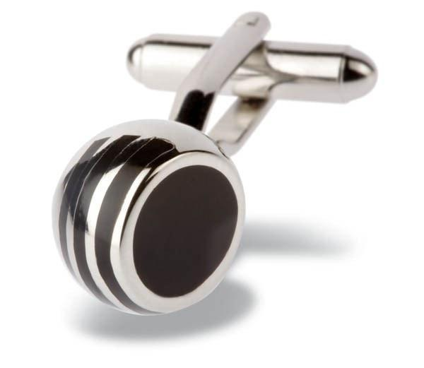 Black Angled Ball Cufflinks-whtshirtmakers.com