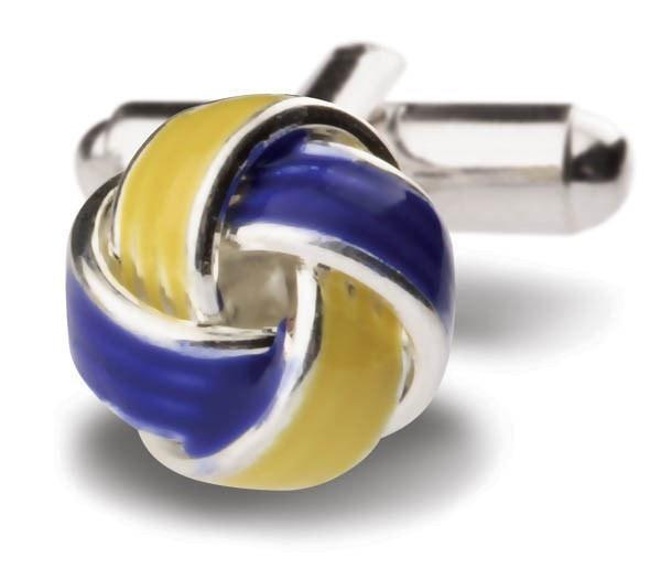 Blue and Yellow Knot Ball Cufflinks-whtshirtmakers.com