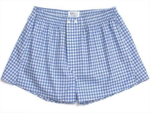 Blue Large Gingham Boxer Shorts-whtshirtmakers.com