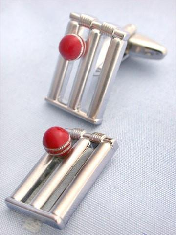 Cricket Ball and Wicket Cufflinks-whtshirtmakers.com
