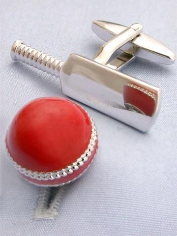 Cricket Bat and Ball Cufflinks-whtshirtmakers.com