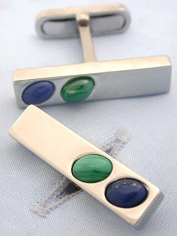 Lapis and Malachite Bar Cufflinks-whtshirtmakers.com