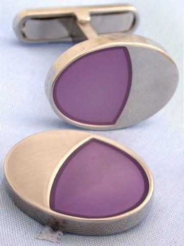 Lilac Oval Cufflinks-whtshirtmakers.com