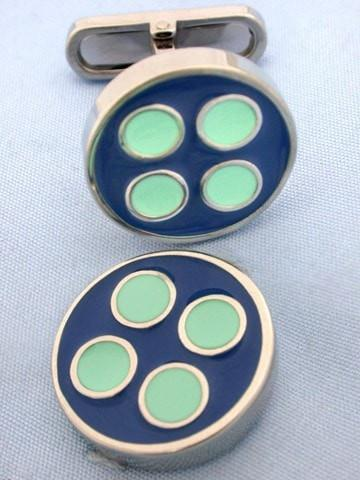 Navy & Mint Button Cufflinks-whtshirtmakers.com