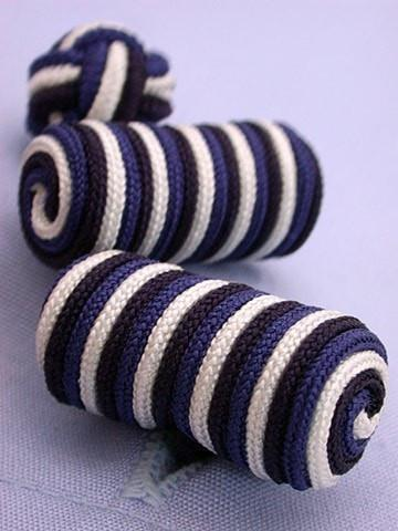 Navy White & Blue Knotted Barrel Cufflinks-whtshirtmakers.com