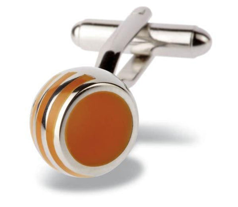 Orange White and Brown Catseye Target Cufflinks