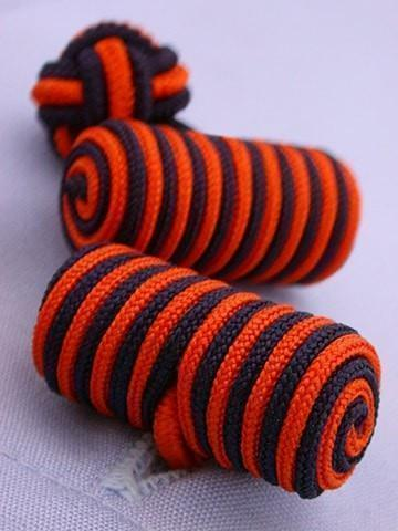 Orange & Navy Knotted Barrel Cufflinks-whtshirtmakers.com