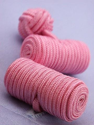Pink Barrel Knotted Cufflinks-whtshirtmakers.com