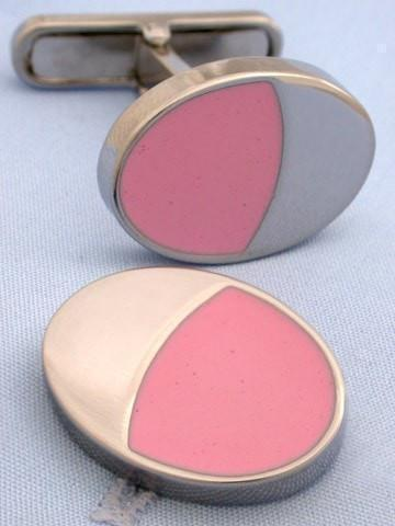 Pink Oval Cufflinks-whtshirtmakers.com