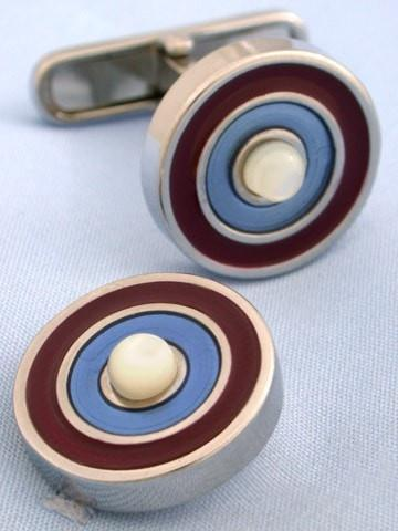 Red Blue and Mother of Pearl Target Cufflinks-whtshirtmakers.com