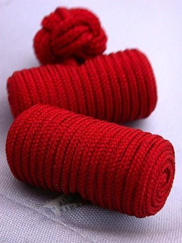 Red Knotted Barrel Cufflinks-whtshirtmakers.com