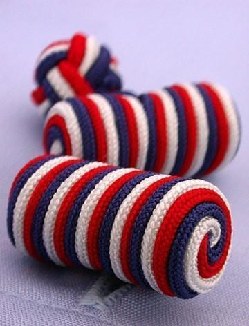 Red White & Blue Knotted Barrel Cufflinks-whtshirtmakers.com