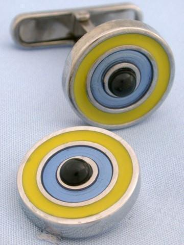 Yellow Blue and Onyx Target Cufflinks-whtshirtmakers.com