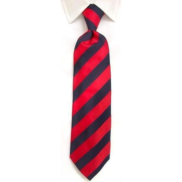 Handmade Navy & Red Regimental Stripe Silk Tie-whtshirtmakers.com