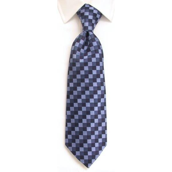 Handmade Navy & Blue Diamond Check Silk Tie-whtshirtmakers.com