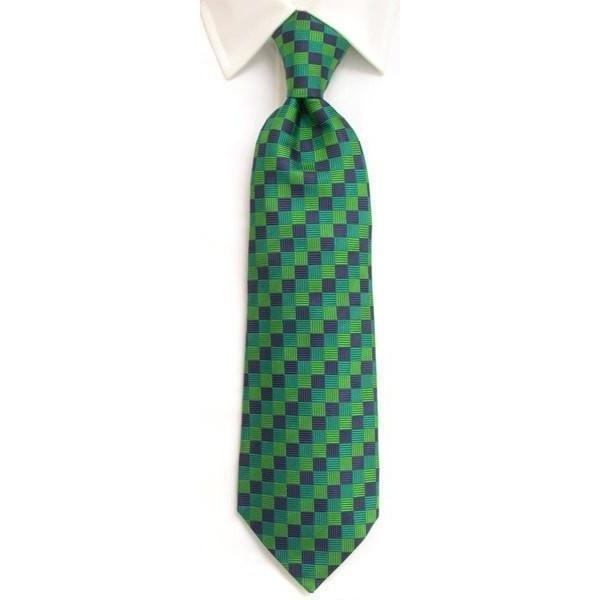 Handmade Navy & Green Diamond Check Silk Tie-whtshirtmakers.com