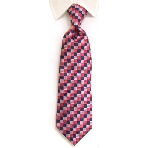 Handmade Navy & Pink Diamond Check Silk Tie-whtshirtmakers.com