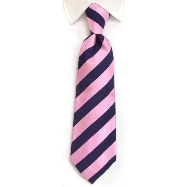 Handmade Navy & Pink Regimental Stripe Silk Tie-whtshirtmakers.com