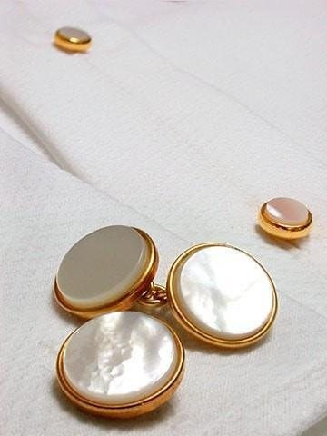 Mother of Pearl Circle Evening Cufflinks-whtshirtmakers.com