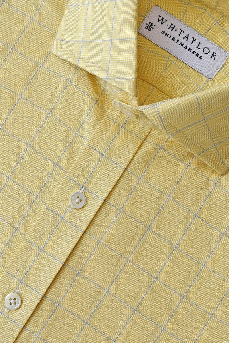 Yellow Prince of Wales Plaid Check Poplin Bespoke Shirt-whtshirtmakers.com