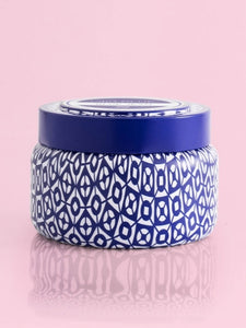 Printed Travel Tin Candle- Blue Jean