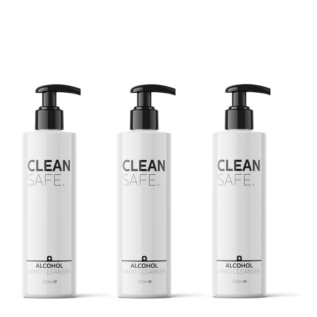 Clean Safe: Alcohol Hand Cleanser 250ml (Pack of 3) (750ml)