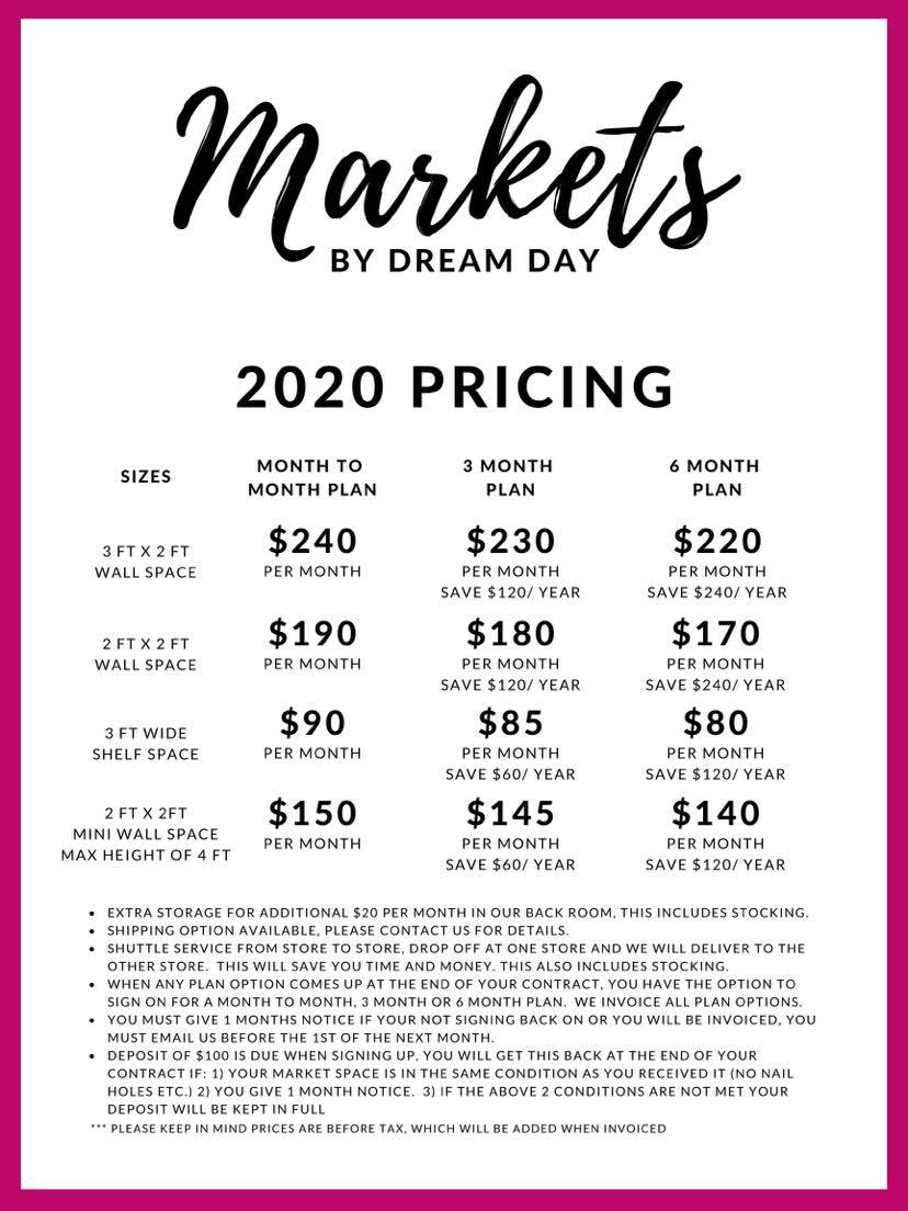 Markets by Dream Day 2020 rates