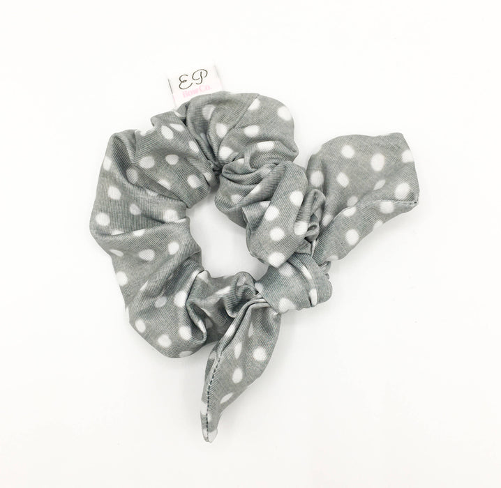 Grey Dot Removable Bow Scrunchie