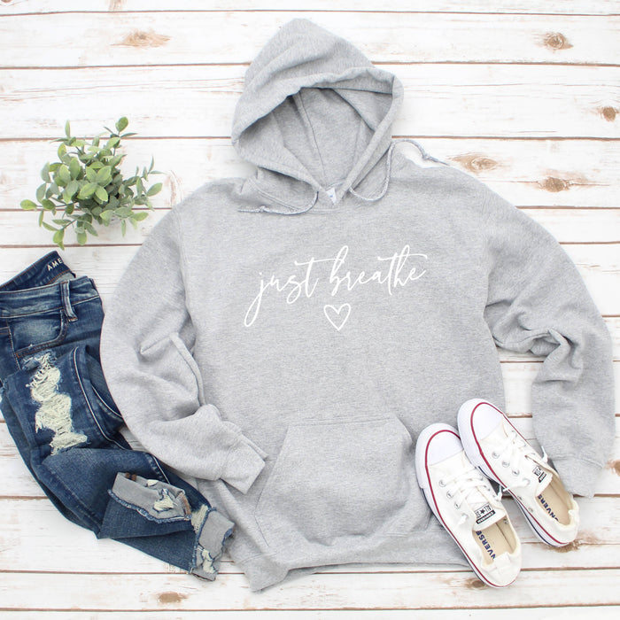 Just Breathe - Grey Hoodie