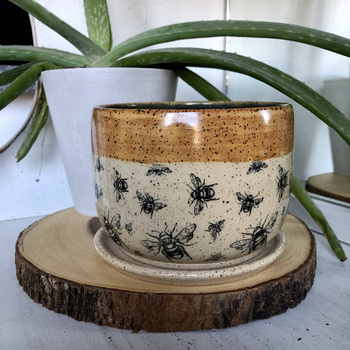 Handmade Pottery Planter With Bee Pattern