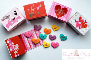 Mini Conversation Heart Cookies in Boxes