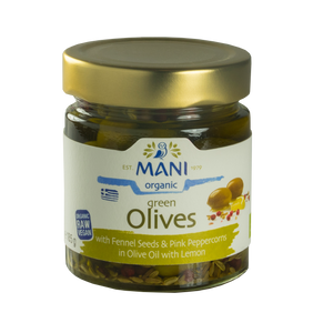 Organic Green Olives with Fennel Seeds & Pink Peppercorns in Lemon Olive Oil