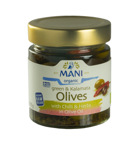 Organic Green & Kalamata Olives with Chilli & Herbs in Olive Oil
