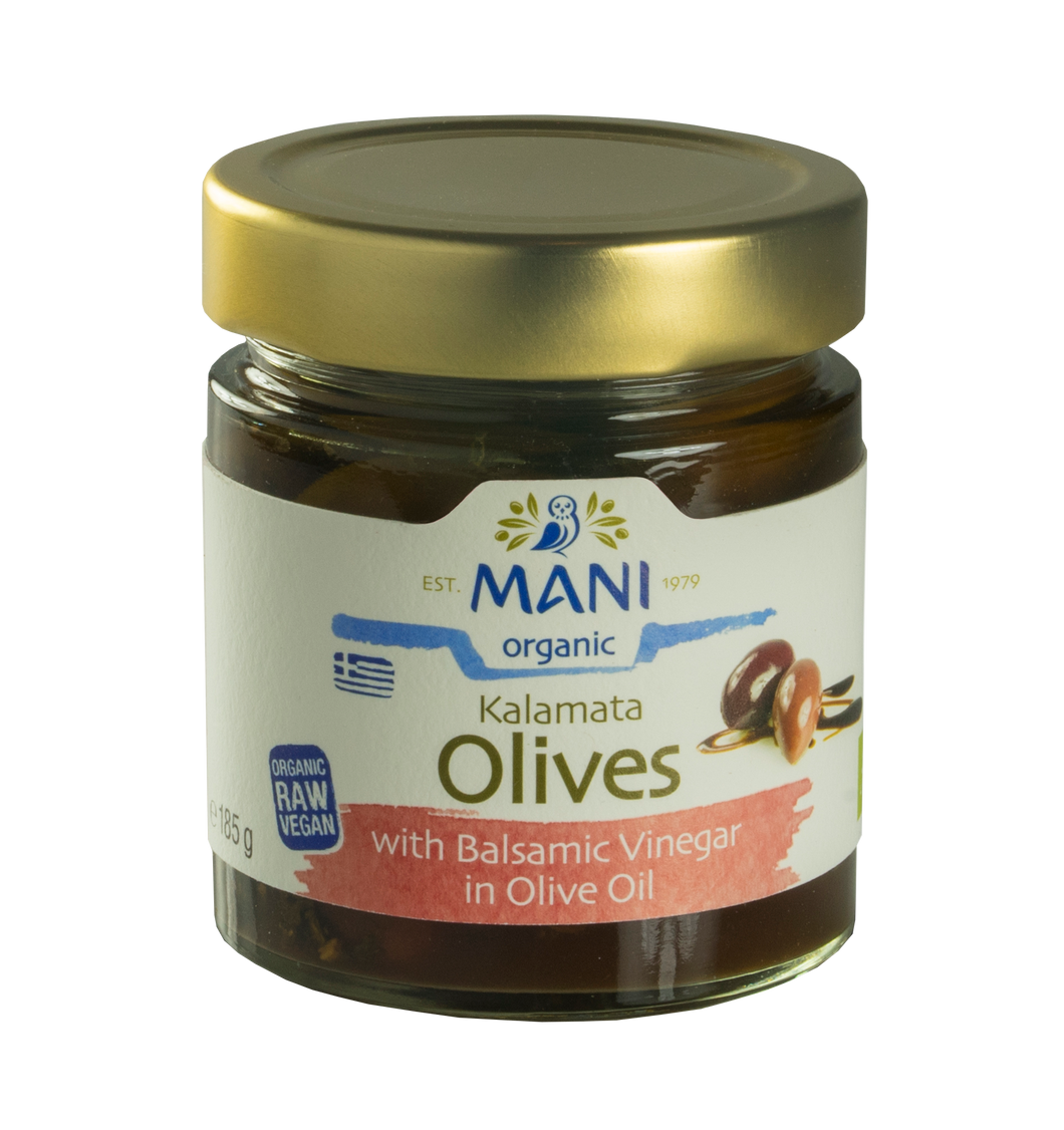 Organic Kalamata Olives With Balsamic Vinegar in Olive Oil