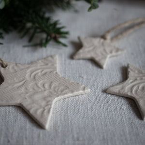 Medium Clay Christmas Star Ornament Bauble