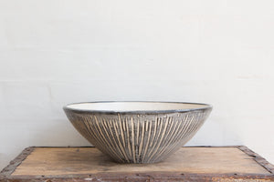 Flawed Large Striped Bowl: Wheel-Thrown Pottery. Salad or Serving Bowl