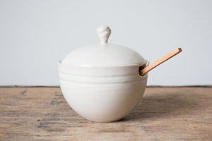 Sugar Pot with Lid and Spoon: Wheel-Thrown Ceramics