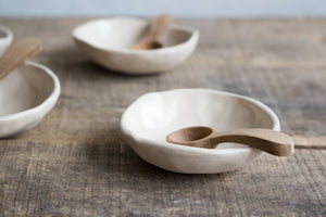 White/Cream Salt or Pepper Pot with Wooden Spoon