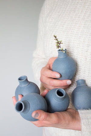 Dry Blue Bud Vase with Speckles