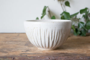 Ribbed Serving Bowl in Rustic White: One