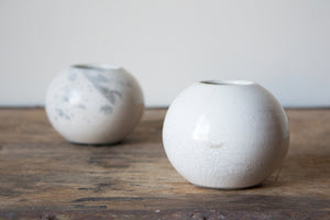 Crackle White Raku Vase: Three
