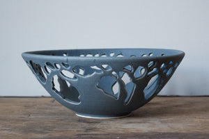 Textured Small Tree Bowl: Dry Blue Matte