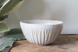 Ribbed Serving Bowl in Rustic White: Two
