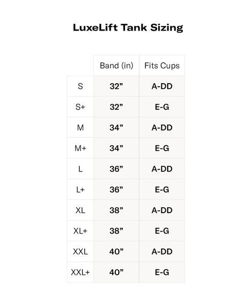 LuxeLift Tank Size Chart