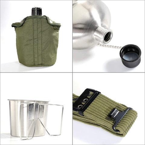 Army Stainless Steel Canteen Military with Cup-Outdoor Gear-Weekly Top Deal