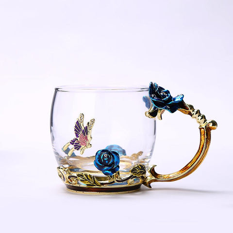 Blue Rose Enamel Crystal Cup Flower Tea Glass Glass Water Mug with Handgrip Gift Lover Wedding-Home Collection-Weekly Top Deal